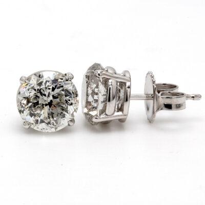 Stud Earrings in 14K WG w/ F-G/I1-I2 certified Round diamonds D4.19ct.t.w.