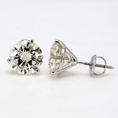 Stud Earrings in 14K WG w/ K-L/SI2-SI3 certified Round diamonds D4.67ct.t.w.