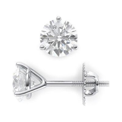 Stud Earrings in 14K WG w/ G-H/SI1 certified Round diamonds D0.90ct.t.w.