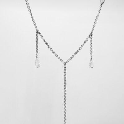 """18"""" Drop Necklace w/ Marquise & Briolette diamonds D2.61ct.t.w."""