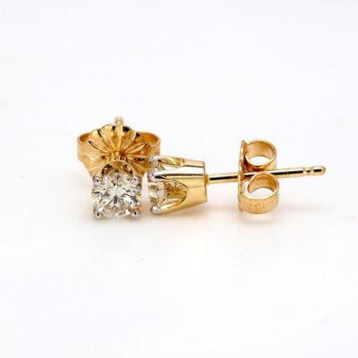 Stud Earrings in 14K YG w/ Round diamonds D0.49ct.t.w.