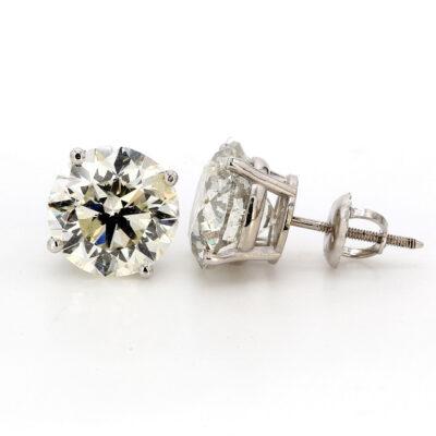 Stud Earrings in 14K WG w/ H-I/SI3 certified Round diamonds D6.02ct.t.w.