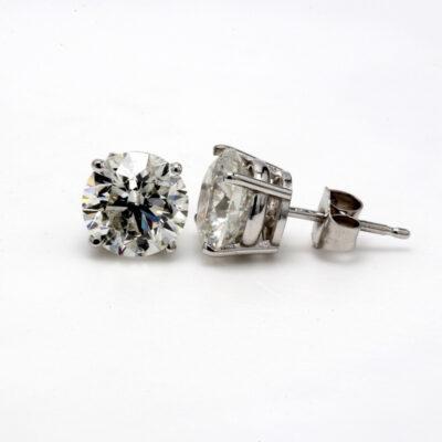 Stud Earrings in 14K WG w/ F-G/SI2-SI3 certified Round diamonds D1.55ct.t.w.