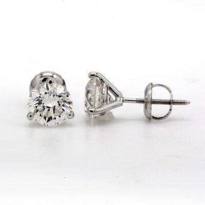 Stud Earrings in 14K WG w/ GIA certified I/I1 (USA certified E-F/SI2-SI3) 3-prong set Round diamonds. D2.03ct.t.w.
