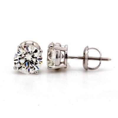 Stud Earrings in 14K WG w/ GIA certified H/I1 (USA certified F-G/SI3-I1) Round diamonds. D1.81ct.t.w.
