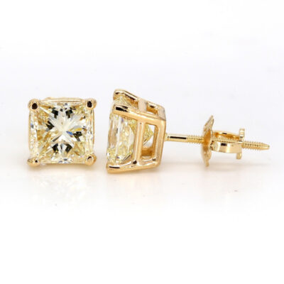 Stud Earrings in 14K YG w/ USA certified I-J/VS2-SI1 Princess cut diamonds. D2.12ct.t.w.
