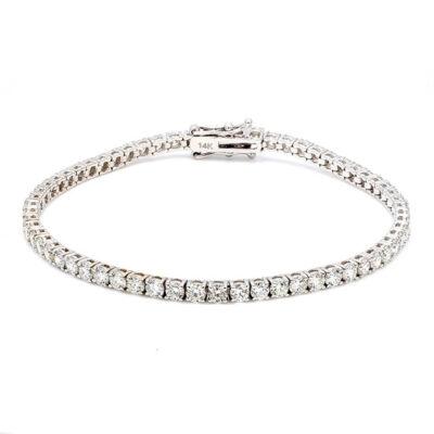 """7.5"""" Tennis Bracelet in 14K WG w/ Round diamonds D5.36ct.t.w."""