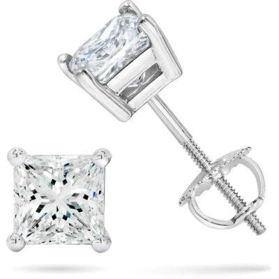 Stud Earrings in 14K WG w/ USA certified D-E/I1 Princess cut diamonds D2.32ct.t.tw.
