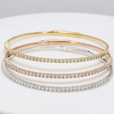 Stackable Bangle 3 piece set in 18K tri-color w/ Round diamonds D3.10ct.t.w.