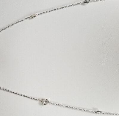 "19"" Diamonds By The Yard Necklace in 18K WG w/ assorted shape diamonds D3.56ct.t.w."