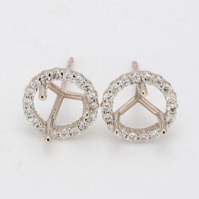 Halo Stud Semi-Mount Earrings in 14K WG w/ Round diamonds D0.44ct.t.w.