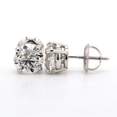 Stud Earrings in 14K WG w/ Round diamonds D2.07ct.t.w.