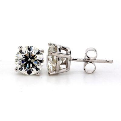 Stud Earrings in 14K WG w/ F-G/SI3 certified Round diamonds D2.03ct.t.w.