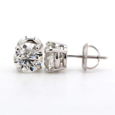 Stud Earrings in 14K WG w/ USA certified D-E/SI3-I1 Round diamonds. D2.01ct.t.w.