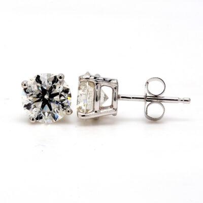 Stud Earrings in 14K WG w/ round diamonds. D2.18ct.t.w.