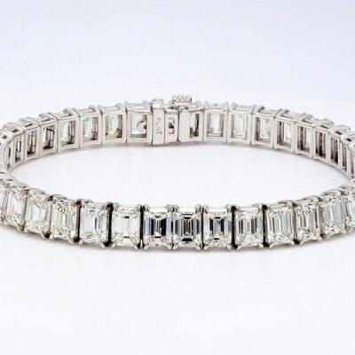 """7"""" Tennis Bracelet in 14K WG w/ Emerald diamonds D15.55ct.t.w."""