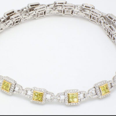 Halo Necklace in 14K Two-tone w/ Round & FY Princess cut diamonds D5.61ct.t.w.