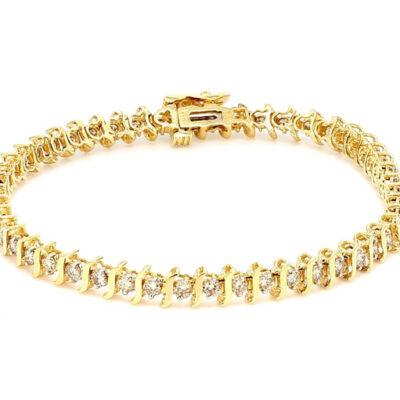 """7.5"""" S-style Tennis Bracelet in 14K YG w/ Round diamonds D1.00ct.t.w."""