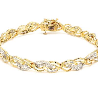 """8"""" Bracelet in 10K YG w/ Round diamonds D3.50ct.t.w."""