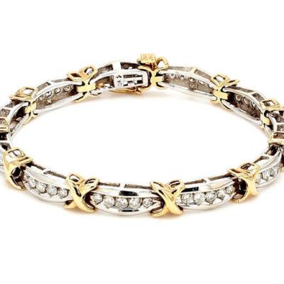 """7"""" Bracelet in 10K Two-tone w/ Round diamonds D3.00ct.t.w."""