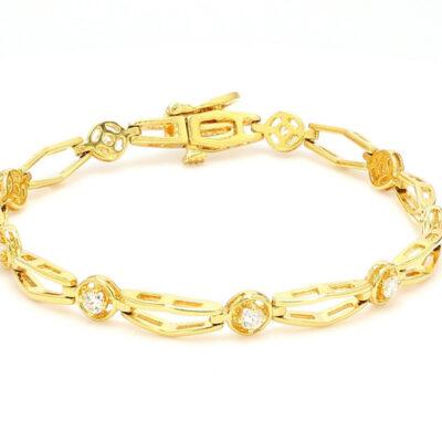 """7"""" Bracelet in 18K YG w/ Round diamonds D0.60ct.t.w."""