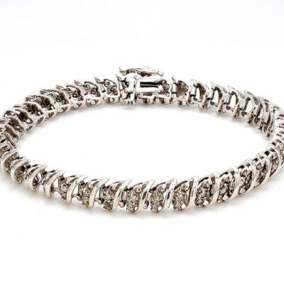 """7.5"""" S-style Tennis Bracelet in 14K YG w/ Round diamonds D2.00ct.t.w."""
