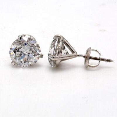 Stud Earrings in 14K WG w/ USA certified D-E/I1 Round diamonds. D4.08ct.t.w.