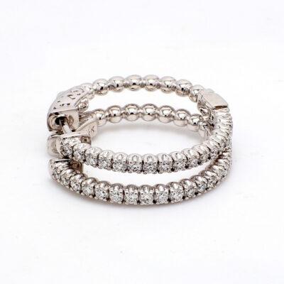 """1"""" Hoop Earrings in 14K WG w/ Round diamonds D0.77ct.t.w."""