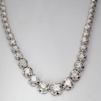 """17"""" Graduated Tennis Necklace in 18K WG w/ Round diamonds D15.74ct.t.w."""