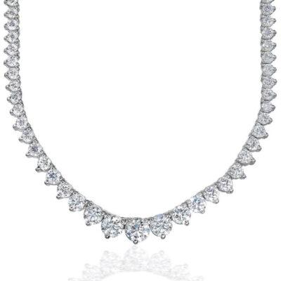 """16.5"""" Graduated Tennis Necklace in 18K WG w/ Round diamonds D18.10ct.t.w."""