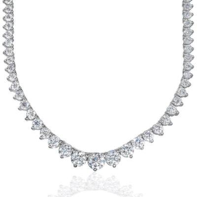 """16.5"""" Graduated Tennis Necklace in 18K WG w/ Round diamonds D12.23ct.t.w."""