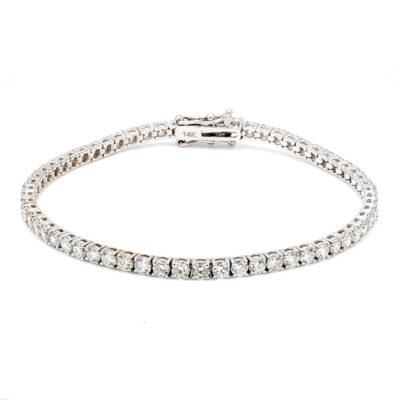 """6.5"""" Tennis Bracelet in 14K WG w/ Round diamonds D5.13ct.t.w."""