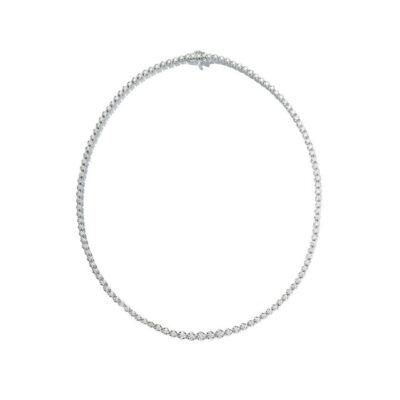 "24"" Straight Line Illusion Tennis Necklace in 14K WG w/ Round diamonds D4.95ct.t.w."