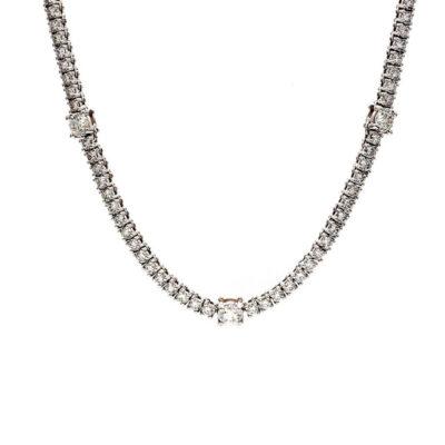 """17"""" Tennis Necklace in 14K WG w/ Round diamonds D7.67ct.t.w."""