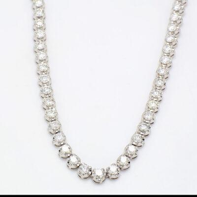 "17"" Straight Line Illusion Tennis Necklace in 14K WG w/ Round diamonds D16.32ct.t.w."