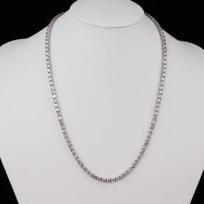 """24"""" Tennis Necklace in 14K WG w/ Round diamonds D36.46ct.t.w."""