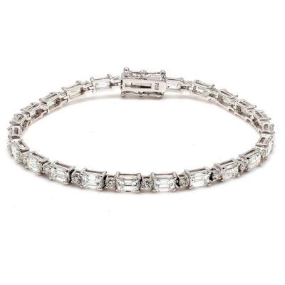 """7"""" Tennis Bracelet in 18K WG w/ Round and Emerald diamonds D8.12ct.t.w."""