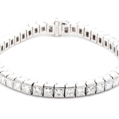 """7"""" Tennis Bracelet in 14K WG w/ Princess Cut diamonds D6.19ct.t.w."""