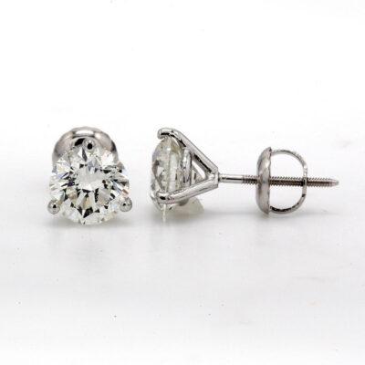 Stud Earrings in 14K WG w/ Round diamonds D2.34ct.t.w.