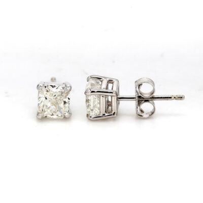 Stud Earrings in 14K WG w/ H/VS1 GIA Cushion cut diamonds D1.24ct.t.w.