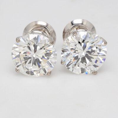 Stud Earrings in 14K WG w/ F/SI1-SI2 GIA Round diamonds D10.07ct.t.w.
