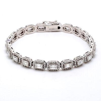 "7.5"" Halo Tennis Bracelet in 14K WG with Emerald diamond centers D8.30ct.t.w."
