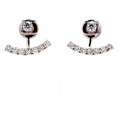 Fashion Style Stud Earrings in 14K WG w/ Round diamonds D1.26ct.t.w.