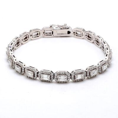"""7"""" Halo Tennis bracelet in 14K WG w/ Emerald centers D6.16ct.t.w."""