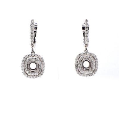 Dangling Semi-Mount Earrings in 14K WG w/ Round diamonds D0.81ct.t.w.