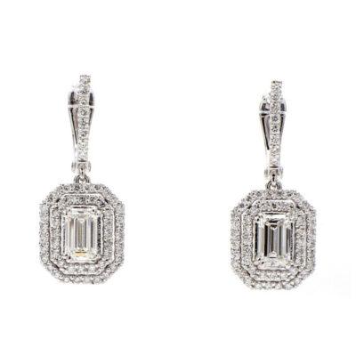 Dangling Earrings in 14K WG w/ F-G/VS1 GIA Emerald diamond centers D2.30ct.t.w.