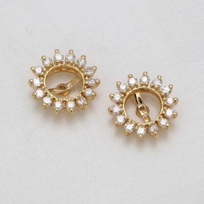 Halo Earring Jacket in 14K YG w/ Round diamonds D0.35ct.t.w.