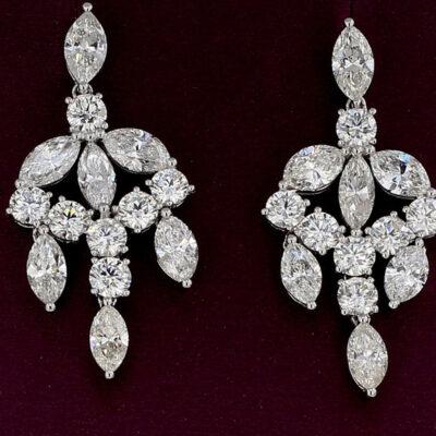 Chandellier Earrings in 18K WG w/ Marquise & Round diamonds. D10.24ct.t.w.