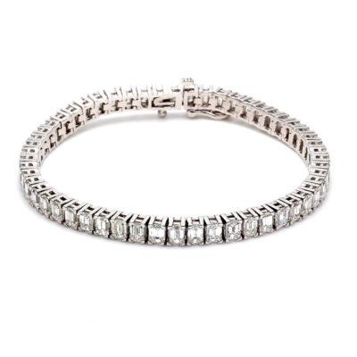 """7"""" Tennis Bracelet in 14K WG w/ Emerald diamonds D12.99ct.t.w."""