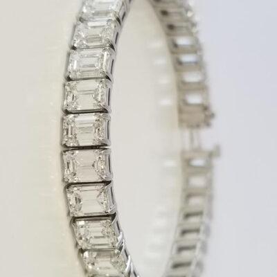 "7"" Tennis Bracelet in Platinum w/ G-I/VVS-VS GIA Emerald diamonds D22.19ct.t.w."